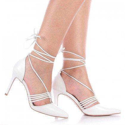 Sapato Amarração Branco Salto Fino L'atelier