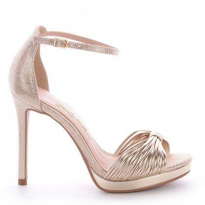 Sandália Dourada Salto Fino L'atelier