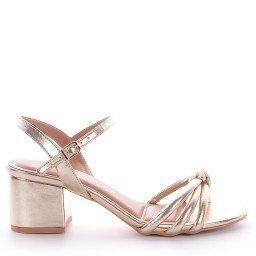 Sandália Confort Dourado Salto Baixo Di Valentini