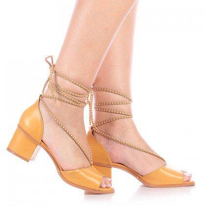 Sandália Amarela Amarração Salto Baixo Di Valentini