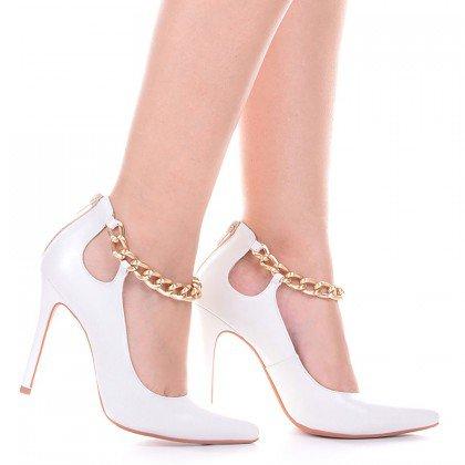 Sapato scarpin Branco com corrente L'atelier