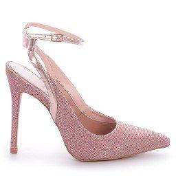 Sapato Tecido Rosa Salto Fino L'atelier