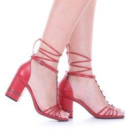 Sandália Amarração Vermelha Salto Baixo Di Valentini