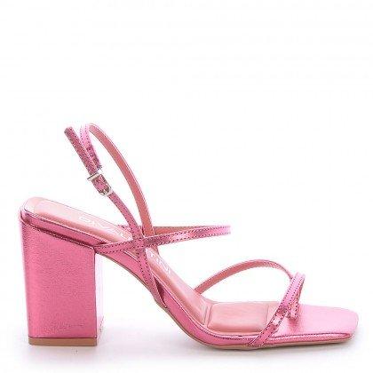Sandália Metalizada Rosa Salto Grosso Di Valentini