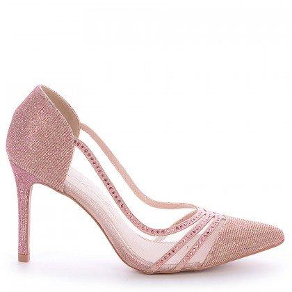 Scarpin Glitter Rosa Salto Fino L'atelier