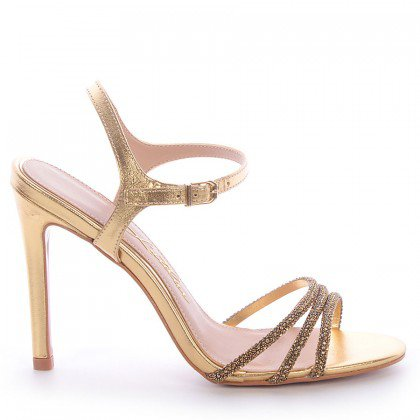 Sandália Metalizada Dourada Salto Fino L'atelier