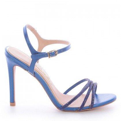 Sandália Metalizada Azul Salto Fino L'atelier