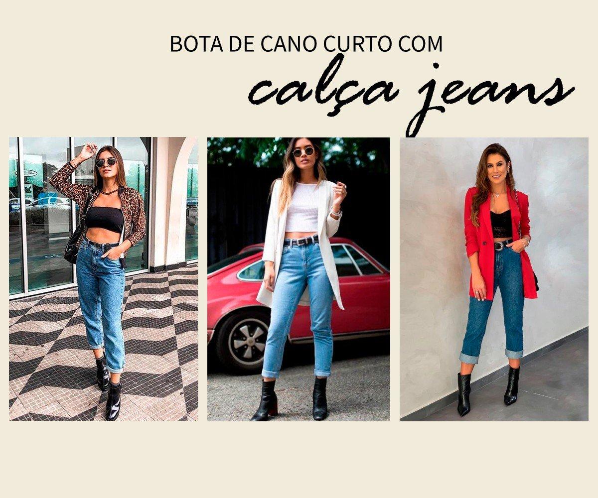 calca jeans com bota de cano curto
