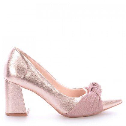 Sapato Bico Fino Salto Grosso Rosa Divalentini