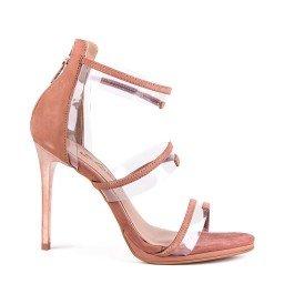 Sandália Salto Fino Couro Rosa