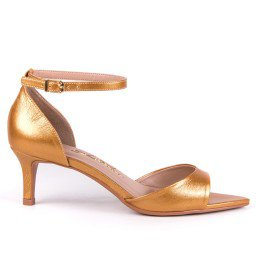Sandália Feminina Metalizado Dourado L'atelier