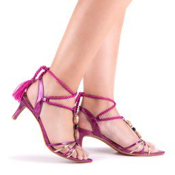 Sandália Salto Baixo Metalizado Rosa