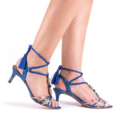 Sandália Salto Baixo Metalizado Azul