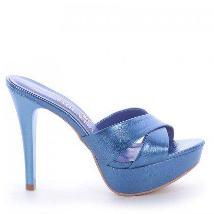 Tamanco Clara Napa Metalizado Azul