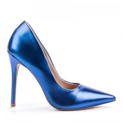 Scarpin Helo L'atelier Napa Metalizado Azul