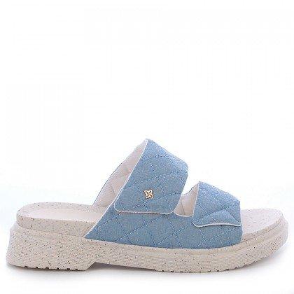 Sandália Papete Julia Di Valentini Tecido Azul